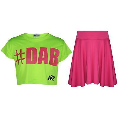 Schietto Bambine Crop Top #dab Neon Verde Alla Moda Floss Fashion Tees & Gonna Set 5-13yr-