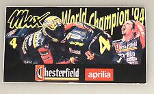 (PRL) MAX BIAGGI '94 ADESIVO CHESTERFIELD APRILIA COLLECTION STICKER AUTOCOLLANT