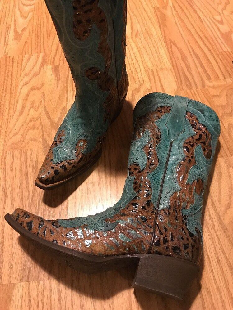 Durango DWRD011 Women's Boots Western Dress Pull On Turquoise Tan Metallic 9.5 M