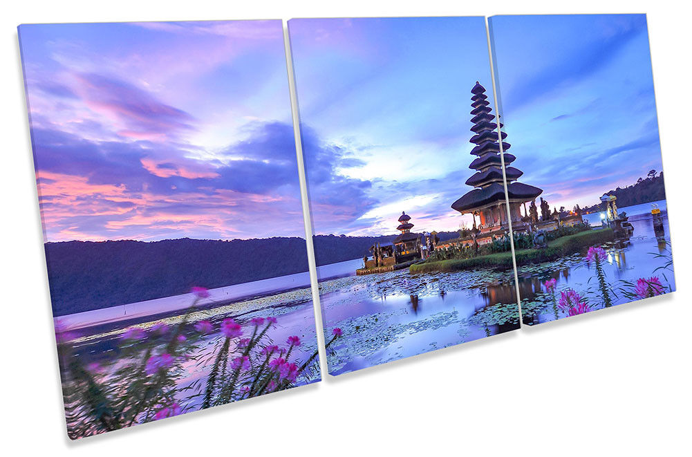 Bali Temple Indonesia Framed CANVAS PRINT TREBLE Wall Art