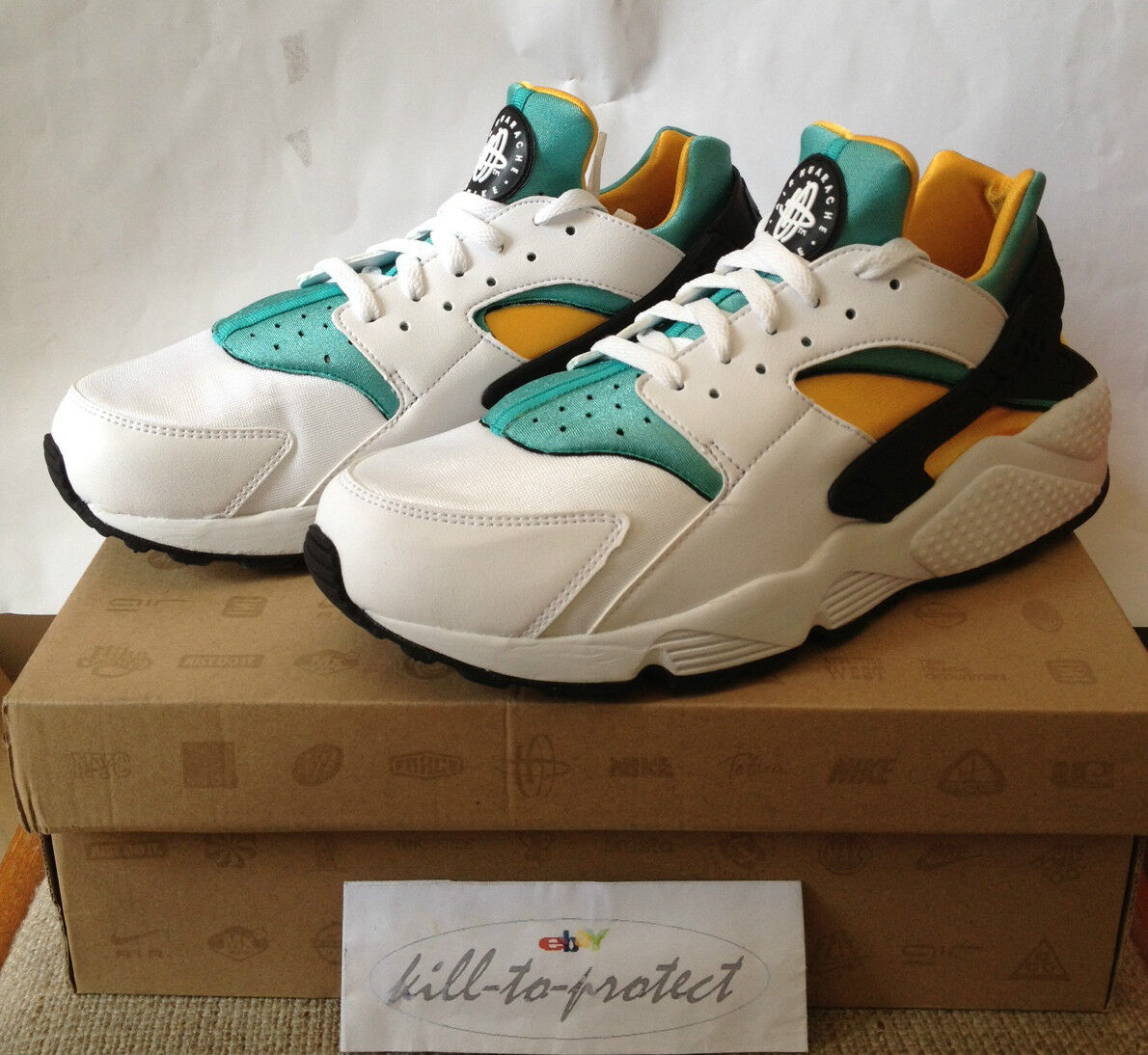 NIKE AIR HUARACHE OG Sz US Green Yellow 318429-137 QS 2013