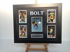 UNIQUE PROFESSIONALLY FRAMED, SIGNED USAIN BOLT PHOTO COLLAGE WITH PLAQUE.