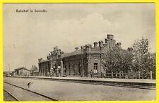 cpa Très Rare POLOGNE POLAND POLEN BAHNHOF in SUWALKI Gare Station Railway