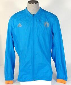 Adidas-Running-Boston-Marathon-2014-Blue-Reflective-Zip-Wind-Jacket-Men-039-s-NWT