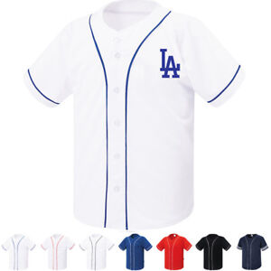 8a1171c96 Los Angeles LA Dodgers Button Jersey Baseball Open T-Shirt Raglan ...
