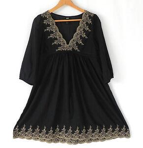 H&M Dress Black Empire Waist Baby Doll 3 4 Sleeve Sheer