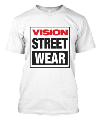 Men/'s Black T-shirt  Tee New Vision Street Wear Skateboard Logo