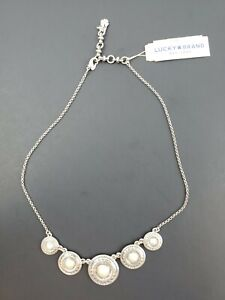Lucky-Brand-Silver-Tone-Imitation-Pearl-Disc-Collar-Necklace-Free-Shipping