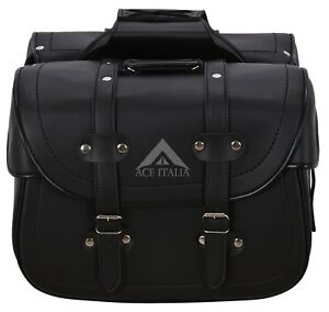 Details About Legend Black Cruiser Motorcycle Bikers Panniers Leather Look Pu Saddle Bag Sd 48