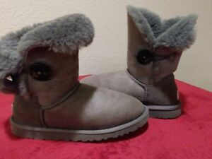 9698e474c2e Details about UGG Womens Sheepskin Bailey One Button Boot - Gray USA Size 5  S/N 5803