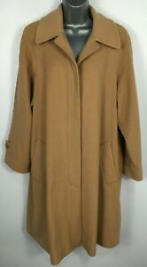 Womens Austin Reed Light Brown Wool Cashmere Button Up Winter Overcoat Uk 12 M Ebay