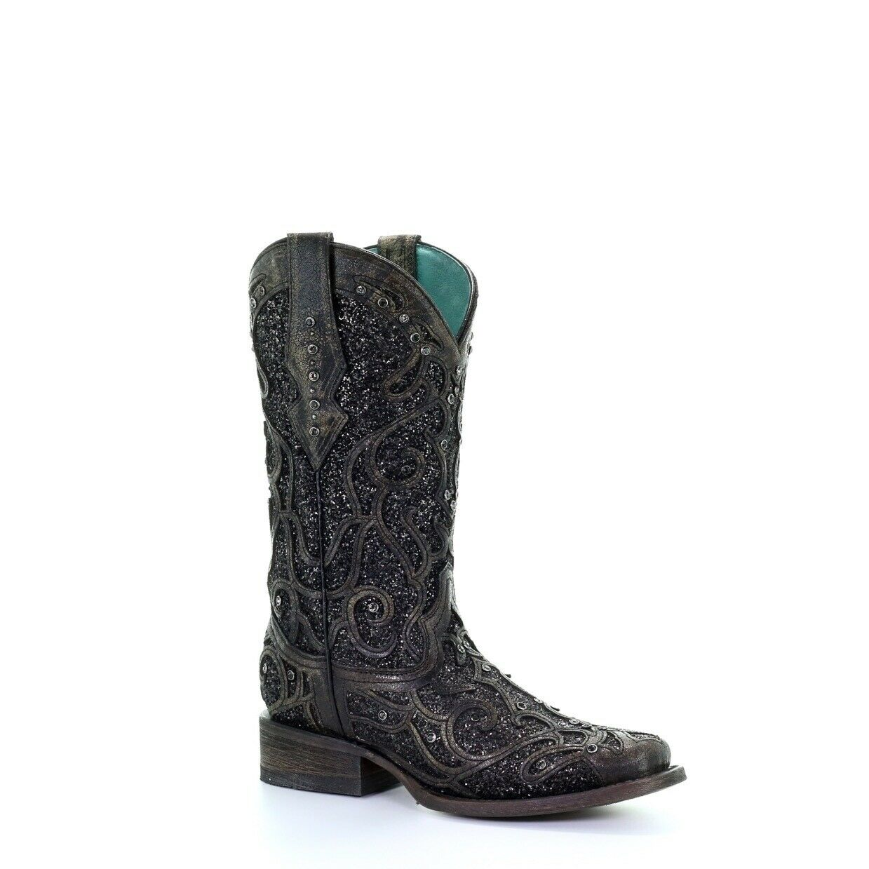 Corral Ladies Black Glitter Inlay & Studs Boots C3484