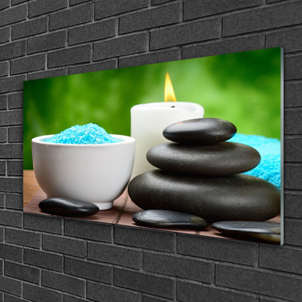 Glass table on 100x50 print image art shell candle stones