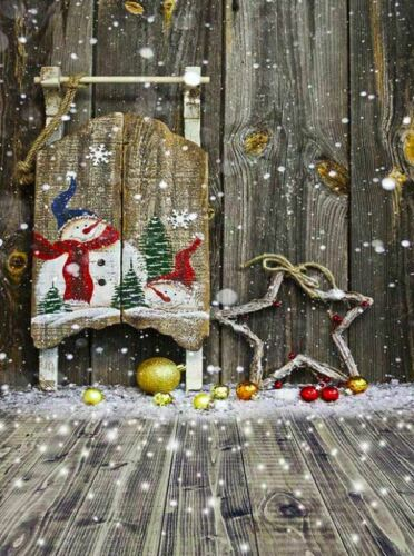 CHRISTMAS BROWN WOOD SANTA GROTTO SLEIGH BACKDROP VINYL PHOTO 5X7FT 150x220CM