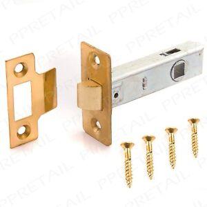 Home Door Latches & Bolts 4x 78mm 3 Inch Brass Plated Internal Sprung Catch Tubular Mortice Door Latch