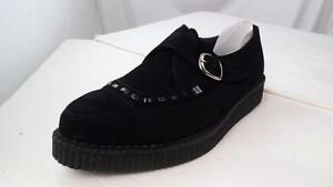 TUK BUCKLE MONK STRAP BLACK SUEDE LOW CREEPERS # A8139 UK 6 USM 7 USW 9 EUR 40