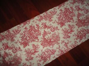 Waverly Custom Country Life Red Off White Toile Floral