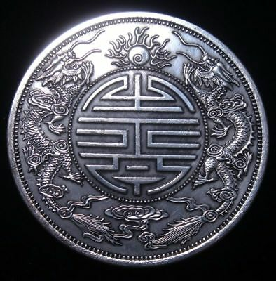 Other Asian Antiques Antiques Palma Tamaño Enorme Chino Doble Dragón Moneda Forma Pisapapeles 88mm #08041807 As Effectively As A Fairy Does