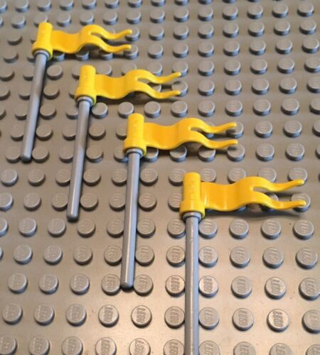 Castle Lego Lot Of 4 Wavy Flags Grey Pole Build A Kingdom Yellow Flag