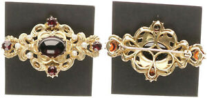Brooch-Gold-585-with-Pearls-and-Garnet-10-3g-Approx-4-5cm-Large