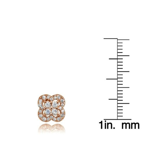 Four Leaf Clover Cubic Zirconia Stud Earrings in Rose Gold Plated 925 Silver