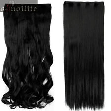 100%Real Natural Full Head Clip in Hair Extensions Straight Wavy Thick hair HG09