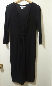 Maggy-London-Dress-Women-Size-12-Black-3-4-Sleeve-Career-Stretch-Pullover-Lined