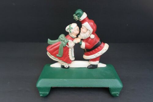 Midwest Santa and Mrs Claus Kissing Cast Iron Christmas Double Stocking Holder