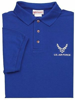 U.S. AIR FORCE ROYAL BLUE POLO SHIRTS EMBROIDERED