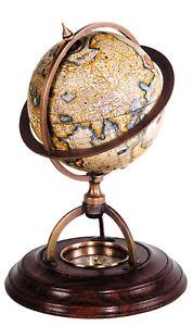 Terrestrial-Globe-w-Compass-8-034-Old-World-Mercator-Desktop-Brass-Wood-Stand-New