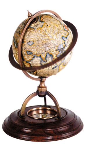 "Terrestrial Globe w// Compass 8/"" Old World Mercator Desktop Brass Wood Stand New"