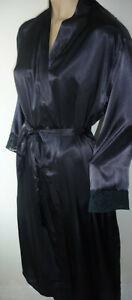 Black-Satin-Robe-Wrap-Size-8-10-Lace-Trim-Side-Pockets-Long-Dressing-Gown