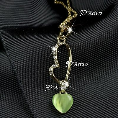 18K YELLOW GOLD GF MADE WITH SWAROVSKI CRYSTAL LOVE HEART PENDANT NECKLACE