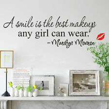 """Marilyn Monroe - """"A Smile is the Best Make up"""" Wall Sticker Stickers Art Quote"""