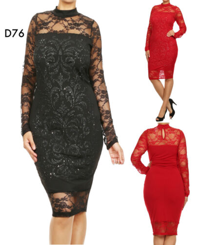 D76 New Ladies Black Long Sleeves Cocktail Wedding Party Evening Lace Dress Plus