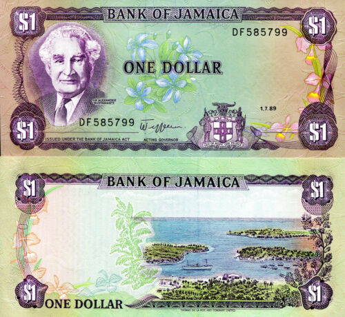 JAMAICA 1 Dollar Banknote World Paper Money UNC Currency Pick p68Ac 1989 Bill