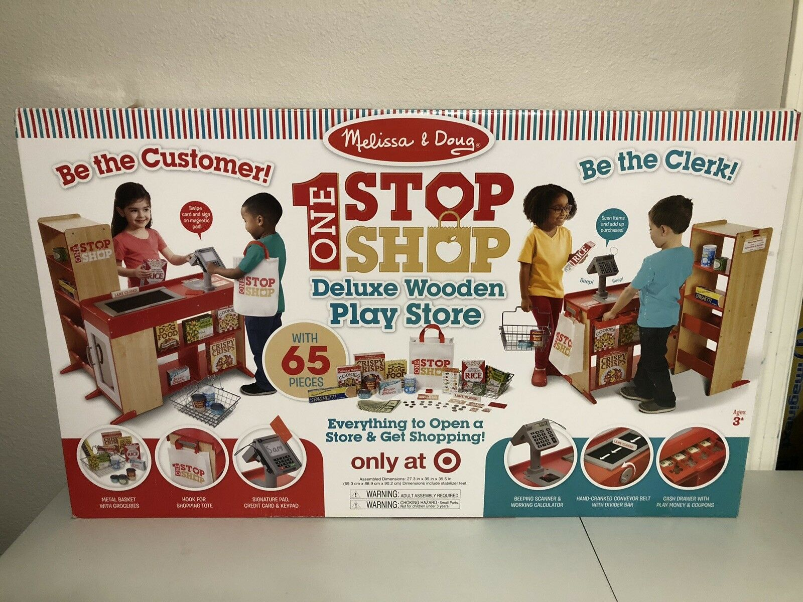 Melissa & doug deluxe one - stop - shop play store set-65pc, new in box - ziel ohne