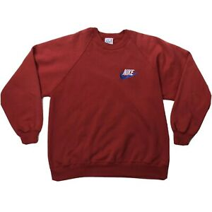 Nike Bootleg Embroidered Swoosh Logo Sweatshirt Mens XL Red Long Sleeve Sweater