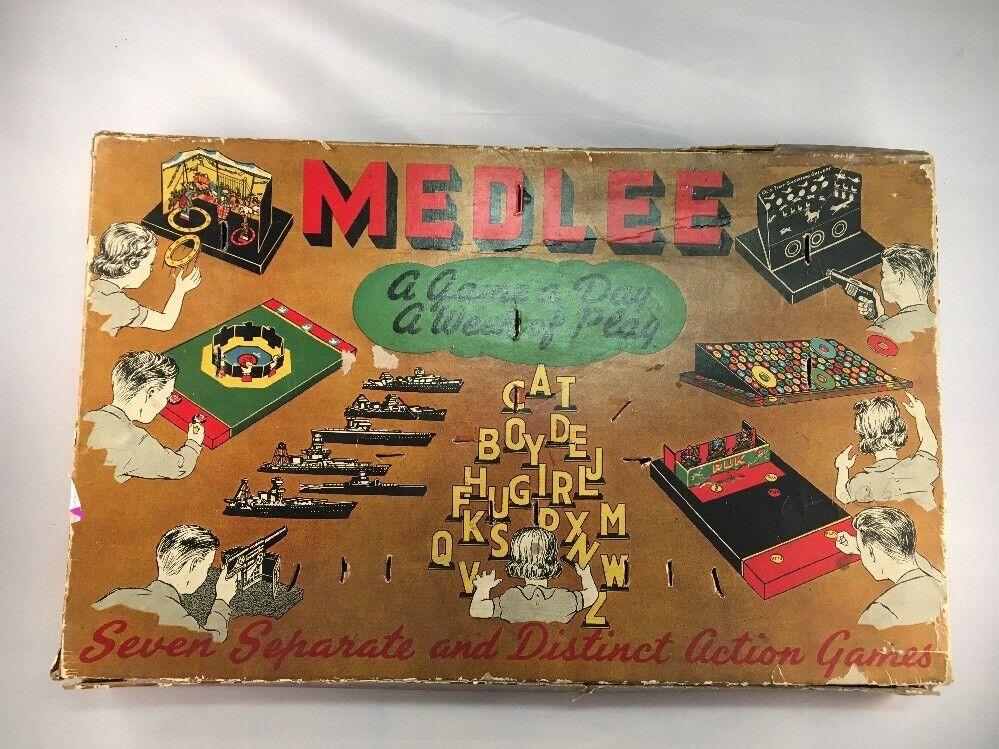 Medlee Juego De Mesa Antiguo built Rite juguetes fabricados por Warren papel Products Company