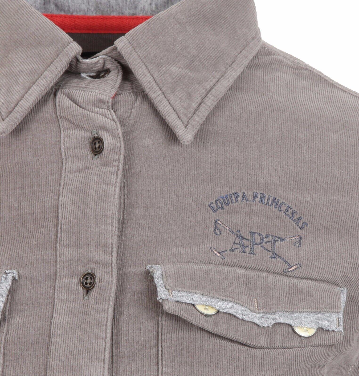 L 'argentoina da donna Kord BLUSA donna Cord Cord Cord Shirt dimensioni 38 M 100% COTONE GRIGIO 185d40