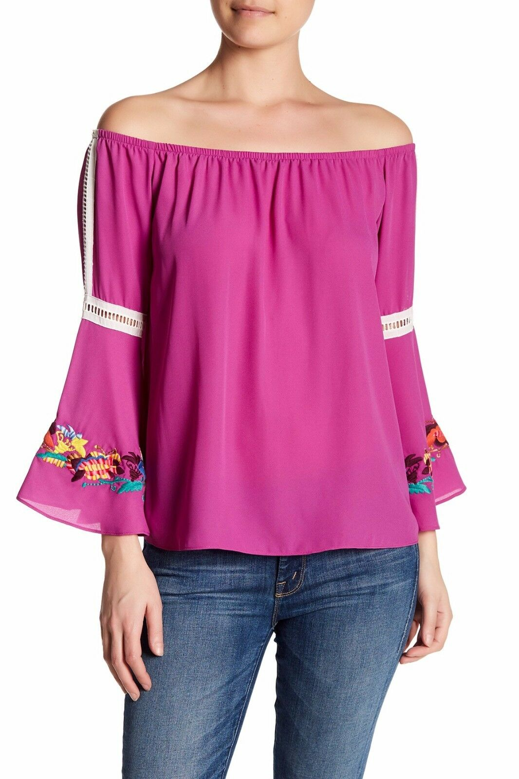 VaVa by Joy Han Open Neckline Top Dark Rosa Embroiderot Bell Sleeves NWT  S