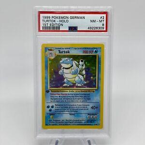 1st Edition Turtok (Blastoise) 2/102 - PSA 8 NM MT German Base Set Pokemon Card