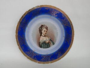 Bayreuth-Bavaria-Victorian-Lady-Porcelain-Portrait-Cabinet-Plate-124B