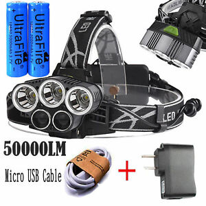 50000LM-5Head-XM-L-T6-LED-18650-Micro-USB-Headlamp-Headlight-Charger-Battery-Set