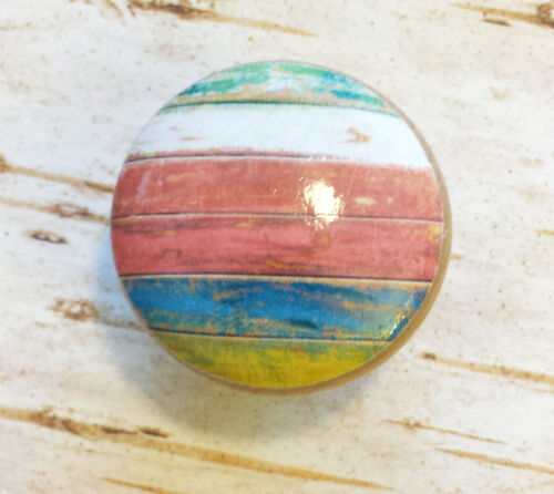 "Handmade Set of 4 Colorful Beach Weathered Knobs 1.5/"" Cabinet Knobs"