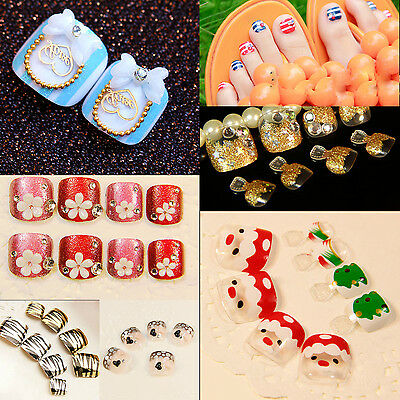 Nail Art Lover Artificial False Lady's Pre Design Toenails Toes Flower in Summer
