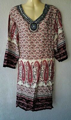 Strandkleid Sommerkleid Boho Tunika Kleid Bluse Long Shirt Indisch XL//XXL