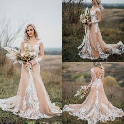 Champagne Wedding Dresses Long Sleeves Plus Size Bridal Gowns Custom 2 4 6  8+++ | eBay