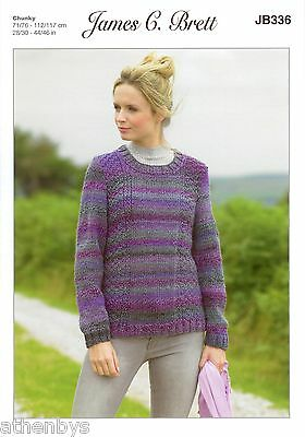 James Brett JB336 Knitting Pattern Ladies Jumperto knit in Marble Chunky