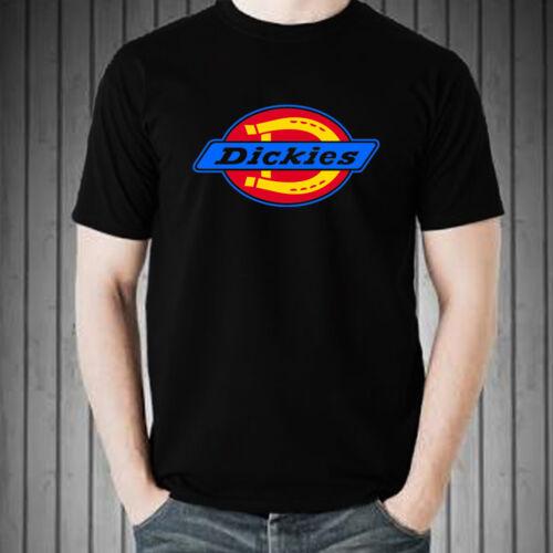 DICKIES LOGO FAMOUS men black white t-shirt 100/% cotton graphic tee short sleeve